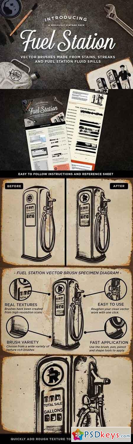 Fuel Station Vector Grime Brushes 1243339