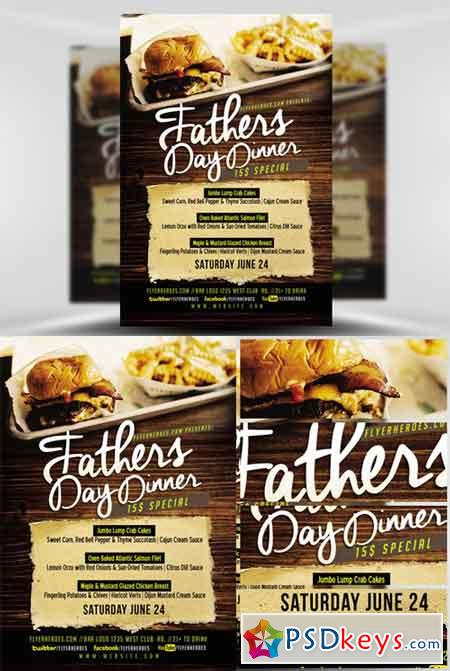 Fathers Day Dinner Flyer Template » Free Download Photoshop Vector