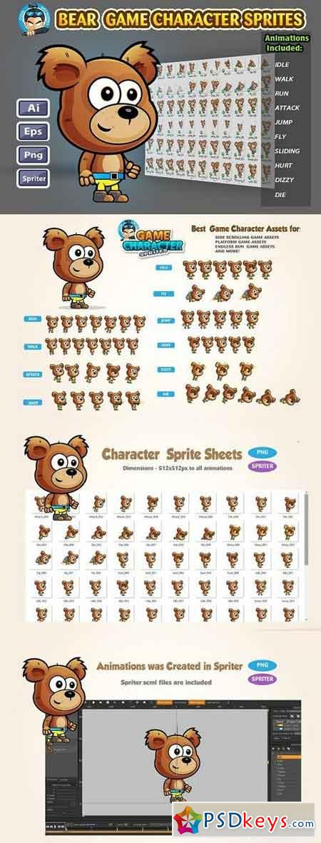 Bear 2D Game Characte Sprites 1224079