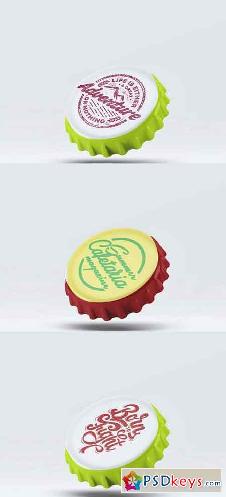 PSD Bottle Cap Mockups