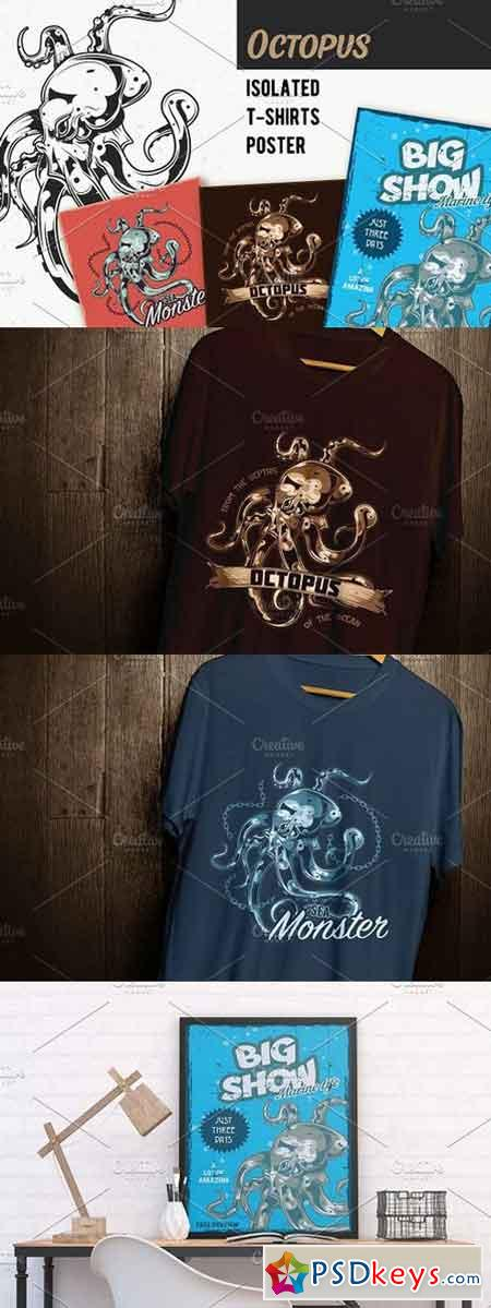 Octopus T-shirts And Poster Labels 1461891