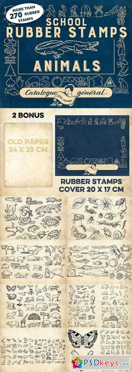 RUBBER STAMPS ANIMALS + 2 BONUS 1241118