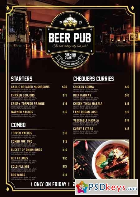 Beer Pub Menu  Premium A Flyer Template  Free Download Photoshop
