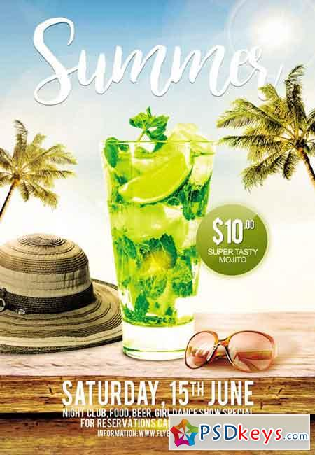 Summer Exclusive Pool Party   Premium A5 Flyer Template
