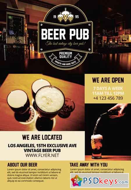 Beer Pub - Premium A5 Flyer Template