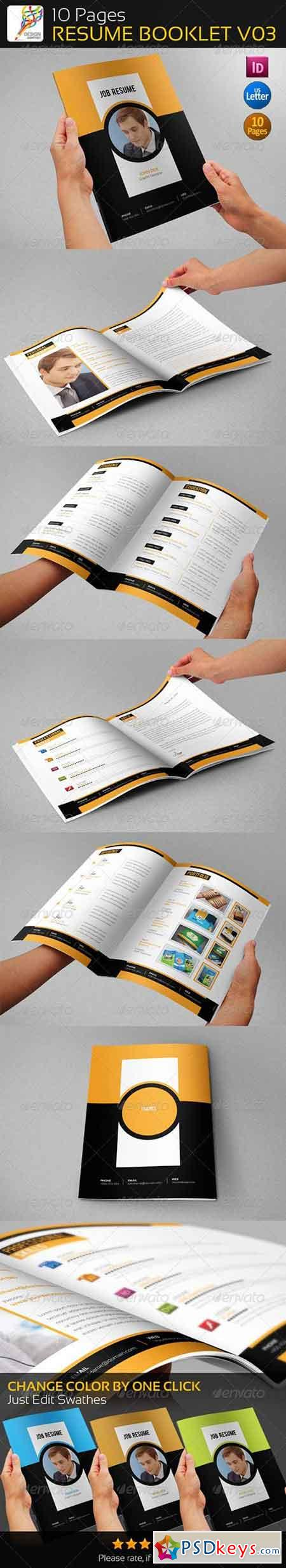 10 Pages Professional Resume Booklet V03 5424439