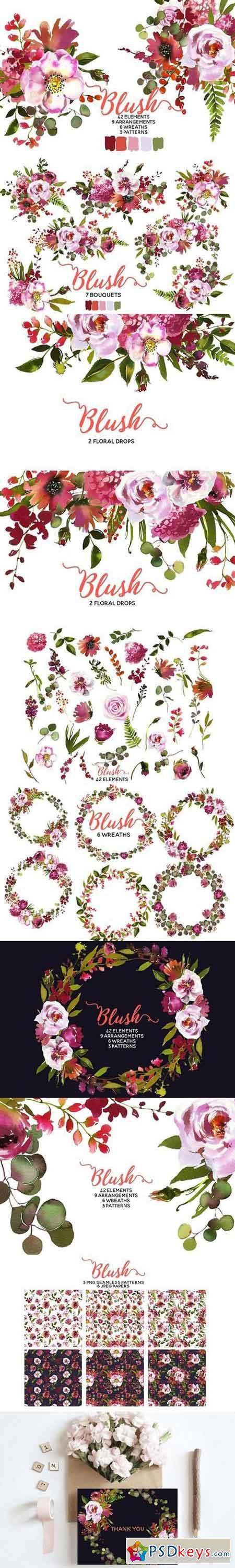 Blush Pink Coral Watercolor Flowers 1481595
