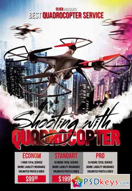 Shooting with Quadrocopter - Premium A5 Flyer Template