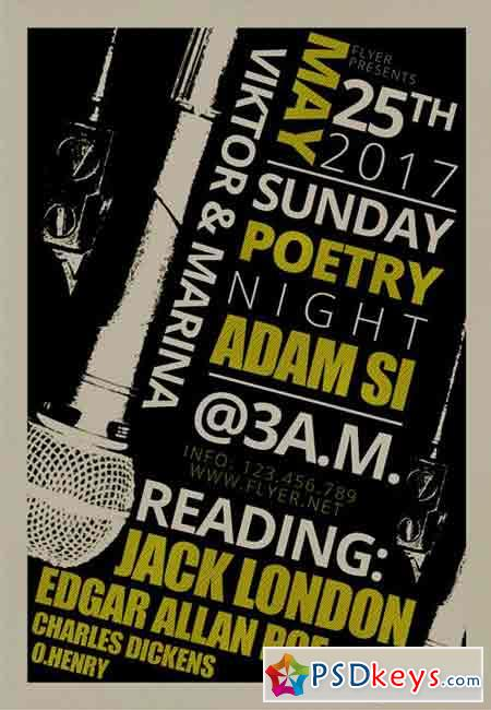 Sunday Poetry Night - Premium A5 Flyer Template
