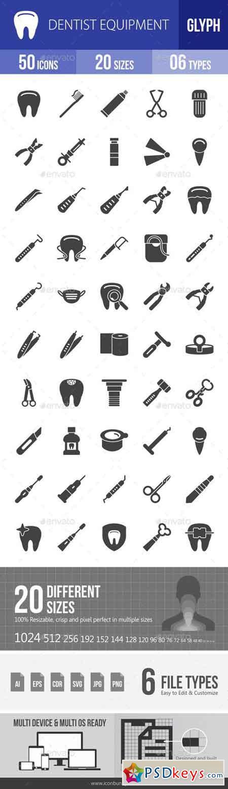 Dentist Equipment Glyph Icons 18081718