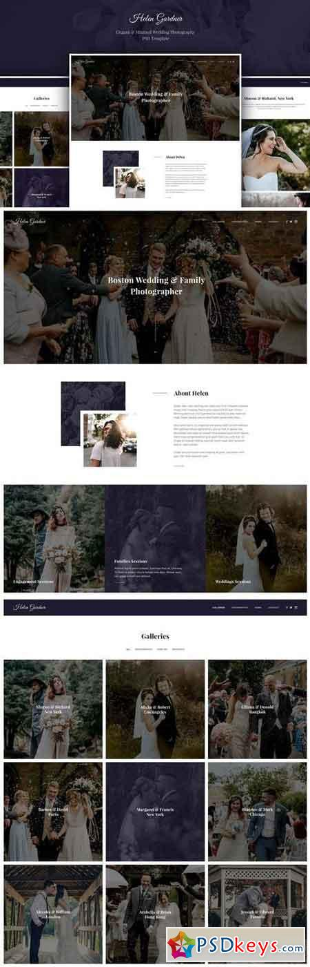 Helen - Elegant Wedding Photography PSD Template