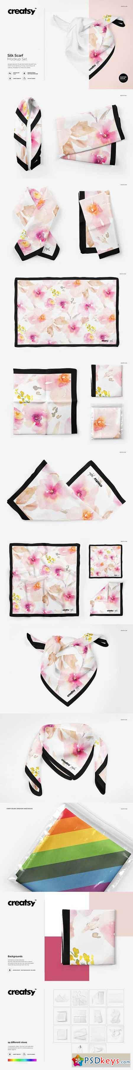 Silk Scarf Mockup Set 1495154 » Free Download Photoshop