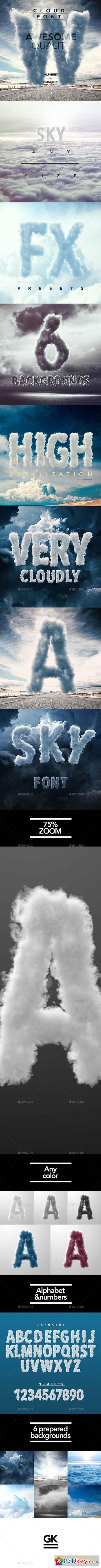 3D Sky Cloud Font Mock Up 12955563