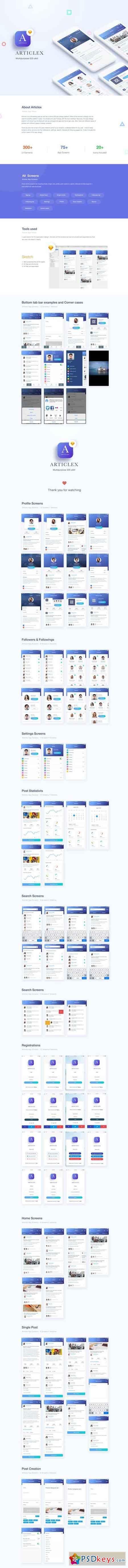 Articlex Multipurpose iOS Ui Kit » Free Download Photoshop