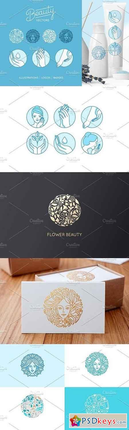 Beauty set - vector logos and badges 875940