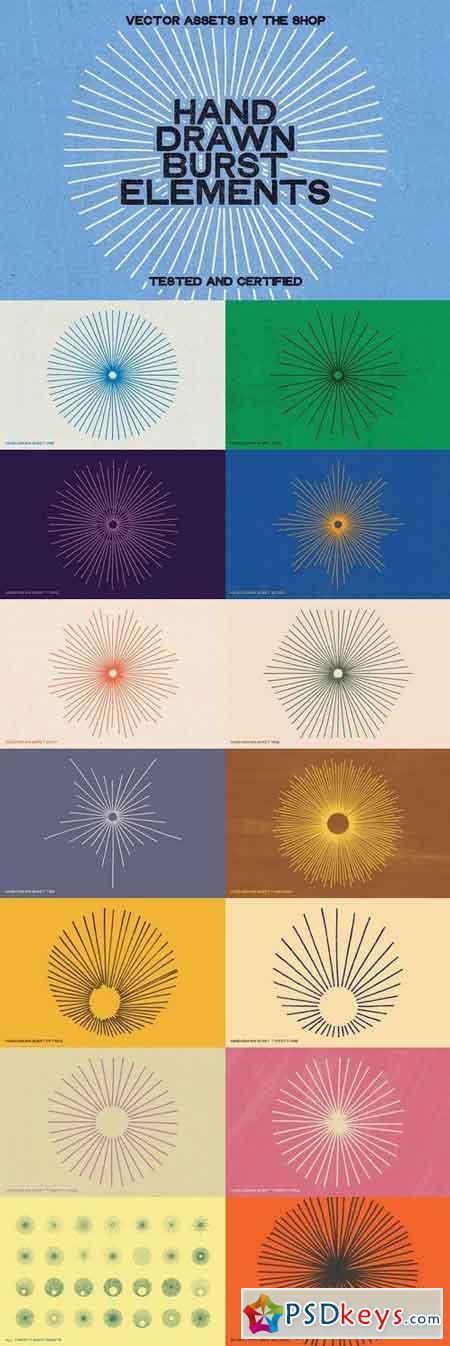 28 hand-drawn burst elements 1292559