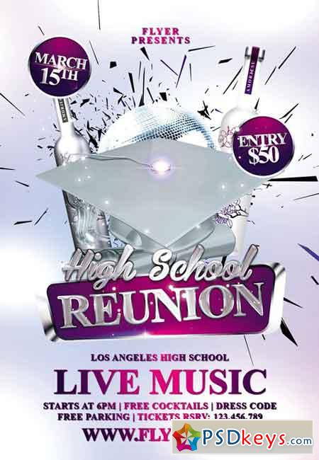 High School Reunion Premium Flyer Template Free Download - High school brochure template