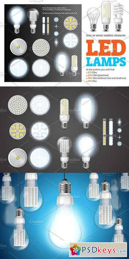 Led Lamps Realistic Set 1516582