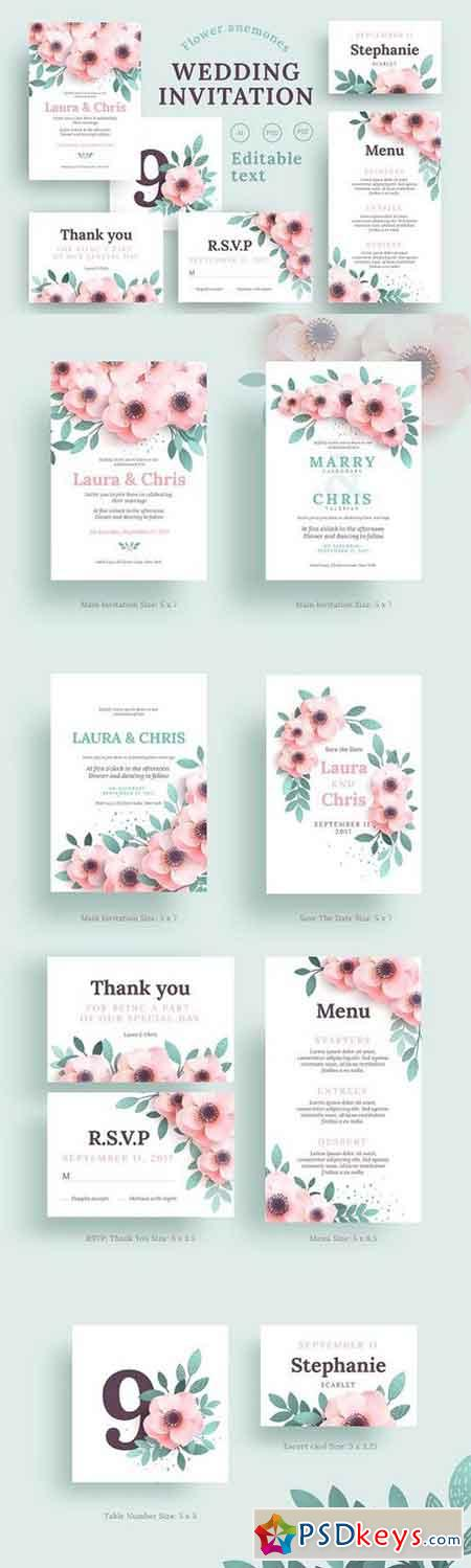 Anemones Wedding Invitation set 1528835