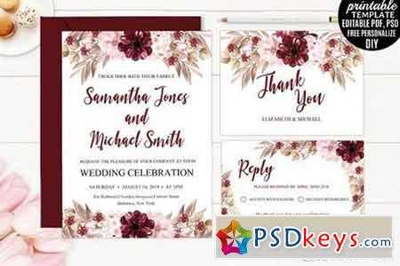 Marsala Wedding Invitation Template 1529094