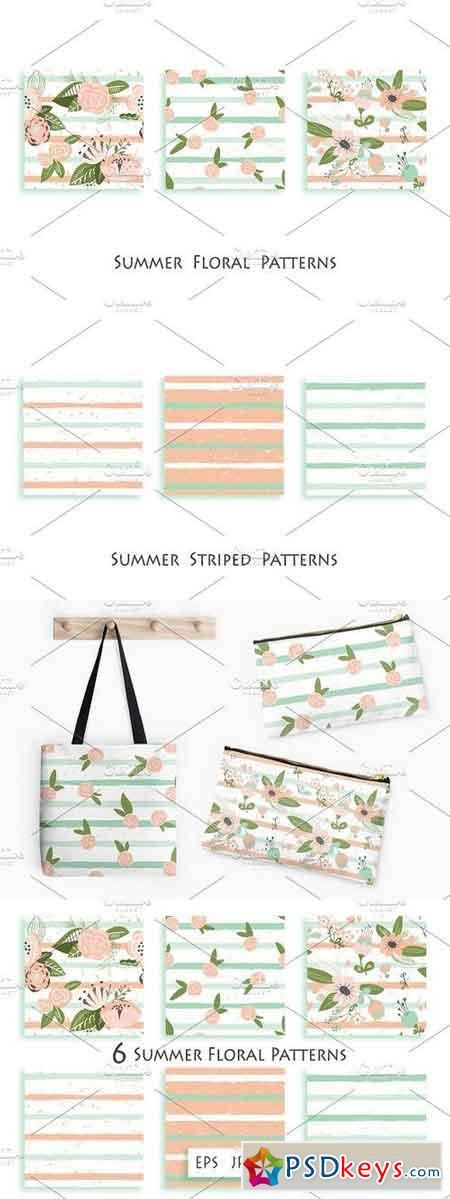 Flowers on striped seamless pattern 695190