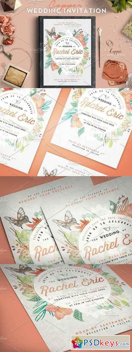 Copper Foil Wedding Invitation 424072