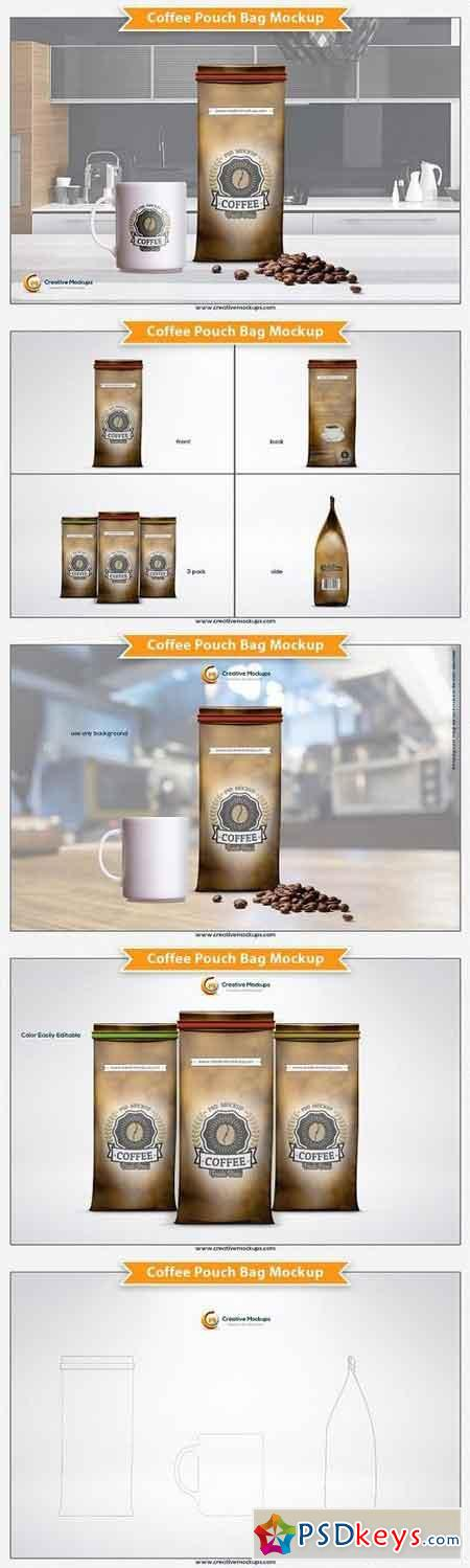 Coffee Pouch Bag Mockup 1309005