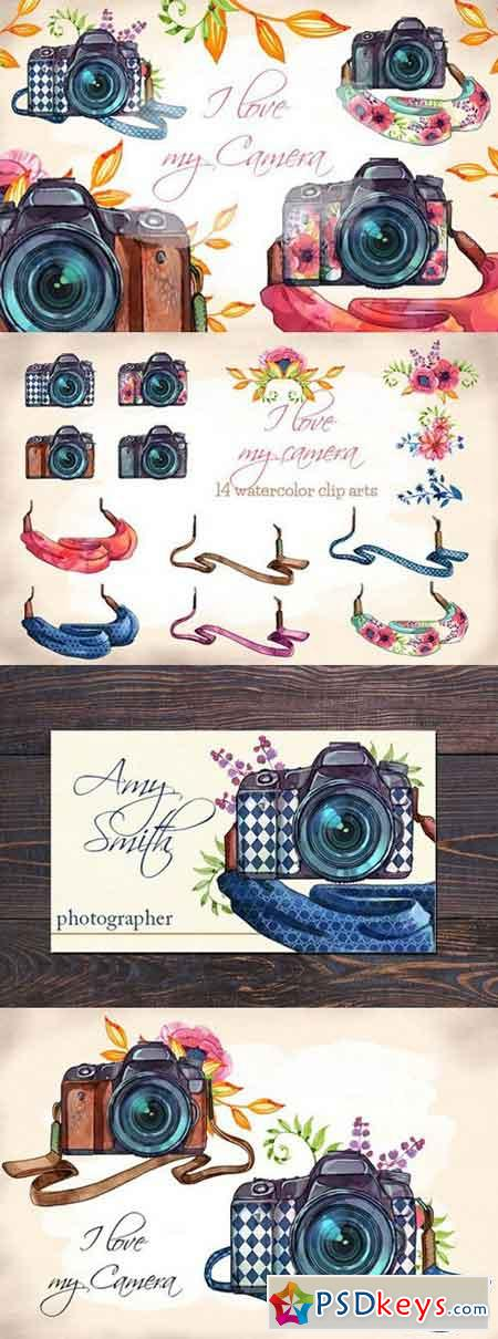 Watercolor Camera Clip Arts 1531343