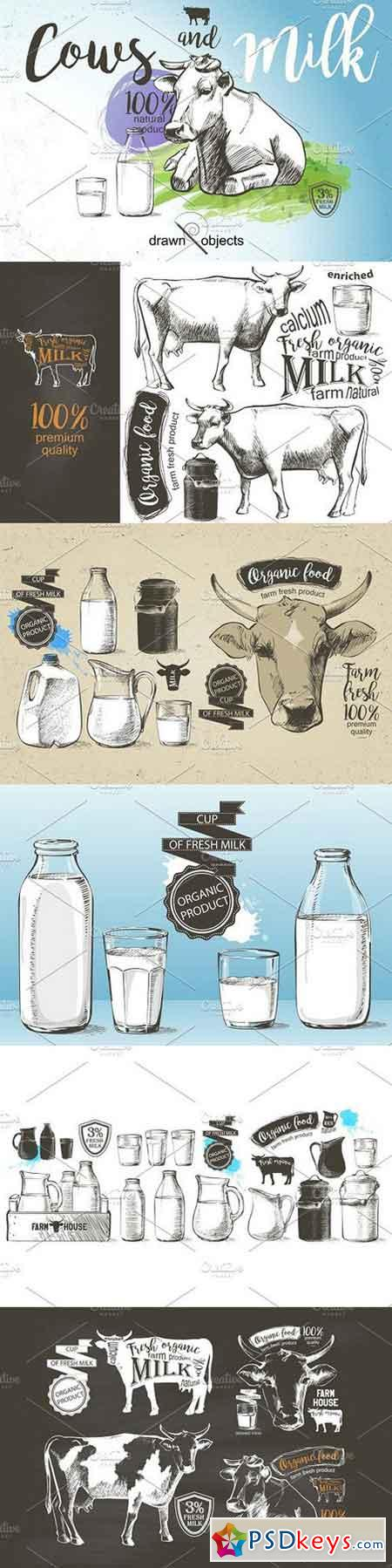 Cows and Milk. Hand drawn Vector set 1167981