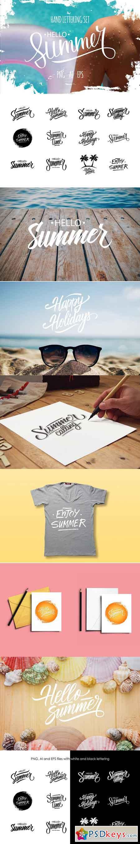 Hello Summer lettering set 1614981