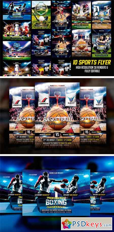 Sports Flyer Bundle 1602874 » Free Download Photoshop Vector Stock ...