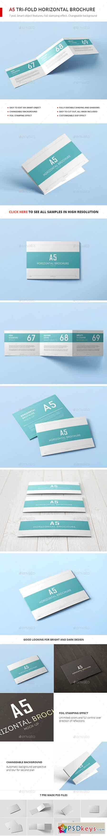 A5 Tri-Fold Horizontal Brochure Mock-up 20203545