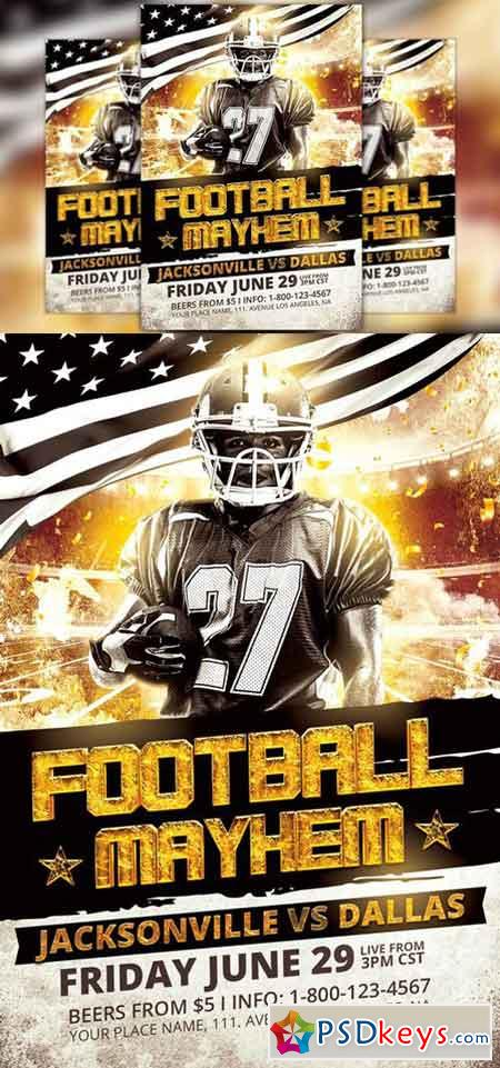 Football Mayhem Flyer Template   Free Download Photoshop