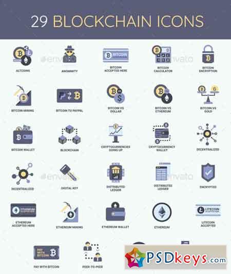 Cryptocurrency, Bitcoin & Blockchain Icon Set 20231751