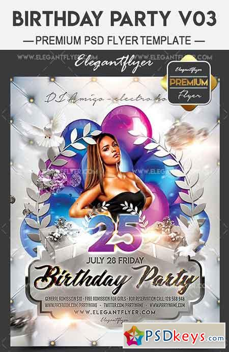 Birthday Party V03 – Flyer PSD Template + Facebook Cover