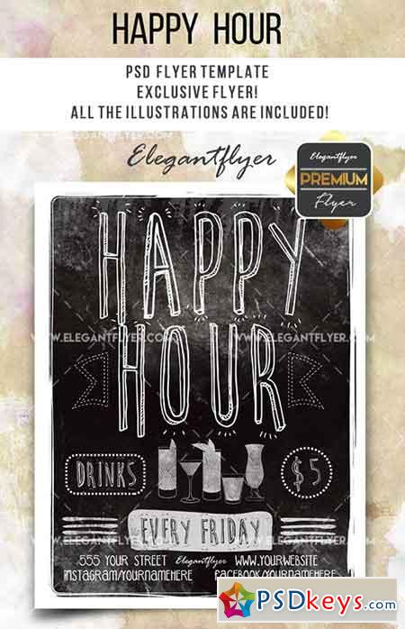Happy Hour- Flyer PSD Template + Facebook Cover 5
