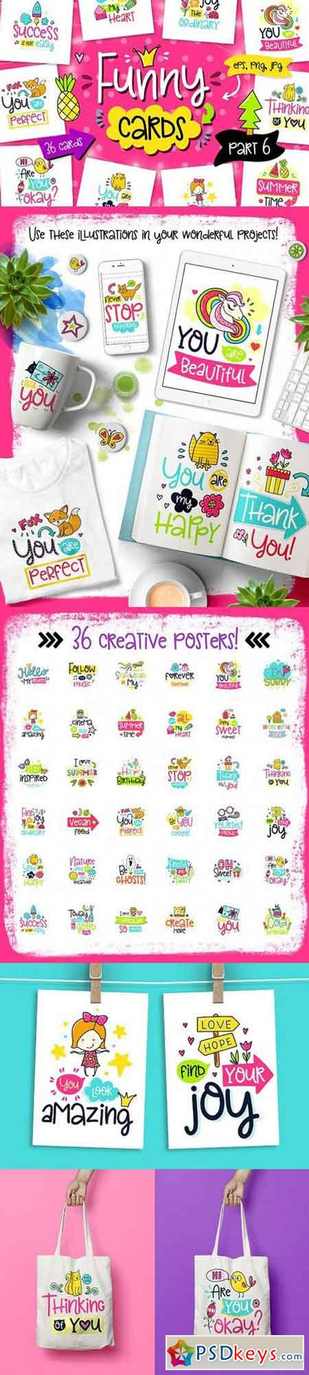 36 Funny Color Cards with Quote 1563080