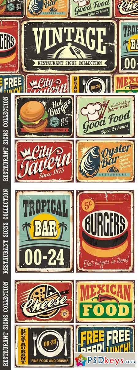 Vintage Restaurant Signs Collection 1564006