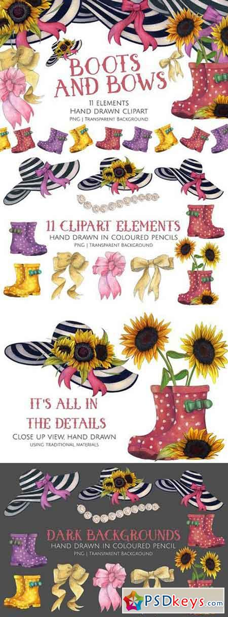 Boots and Bows Clipart Set 1573085