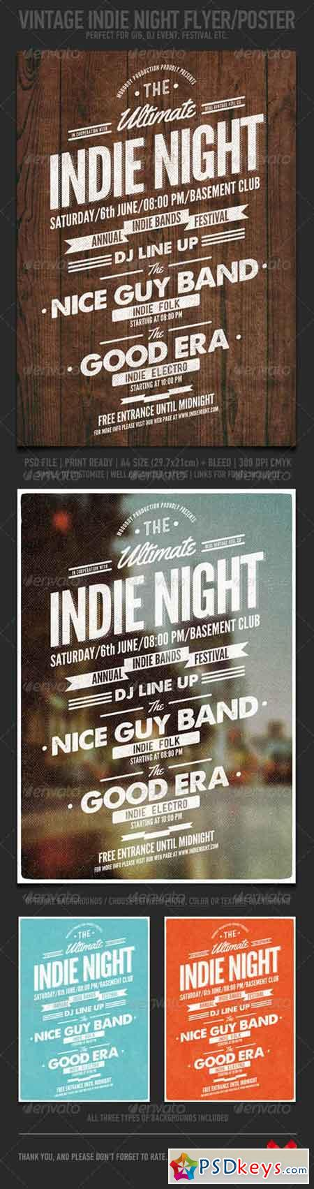 Vintage Indie Night Flyer Poster 7402686