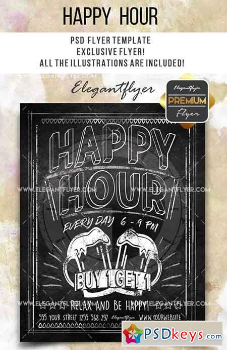Happy Hour- Flyer PSD Template + Facebook Cover 4