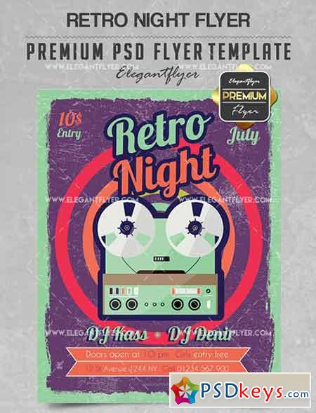 Retro Night – Flyer PSD Template + Facebook Cover 2