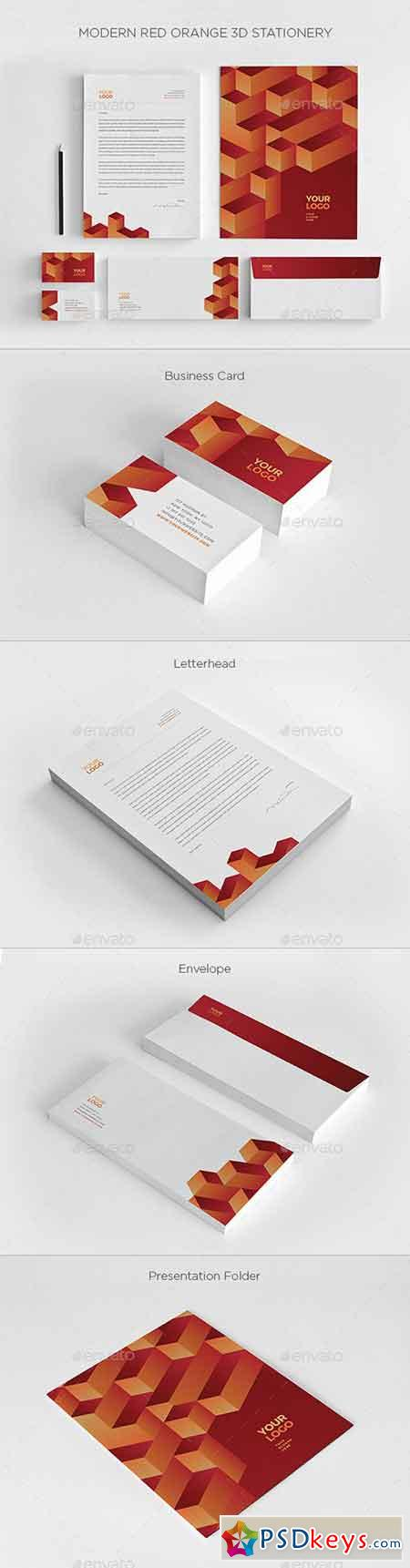 Modern Red Orange 3D Stationery 20279000