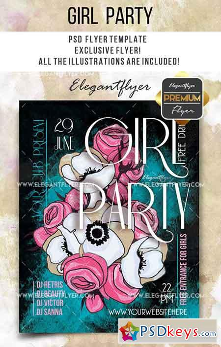 Girl Party- Flyer PSD Template + Facebook Cover 2