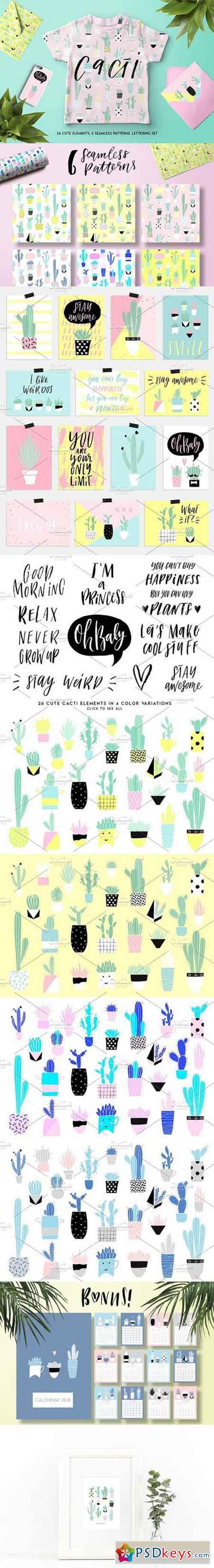 Cute cacti set 1594759