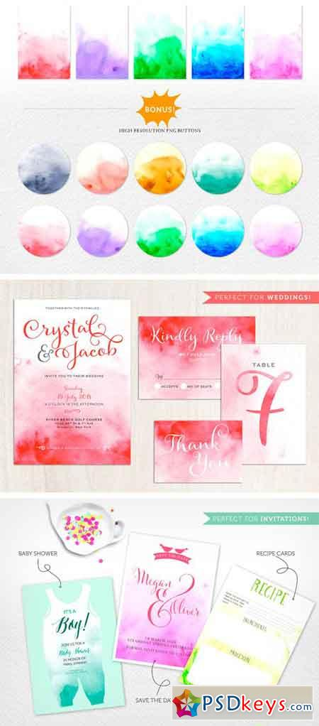 Ombre Watercolor Backgrounds Vol.1 1505969
