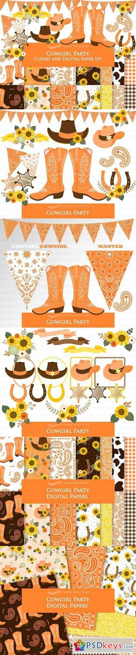 Cowgirl Party Clipart+Pattern 1398859