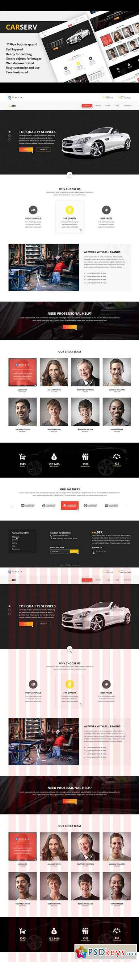 CARSERV Photoshop Web Template Free Download Photoshop - Web template torrent