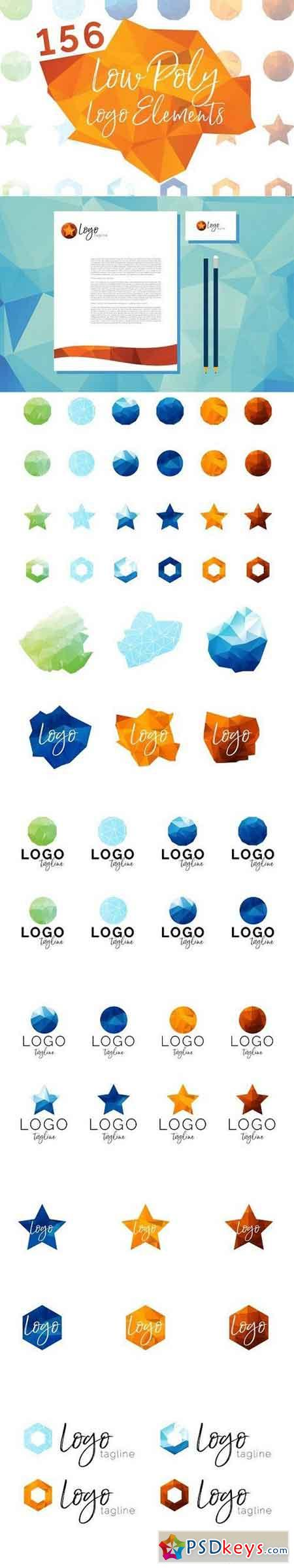 156 Low Poly Logo Elements 1339052