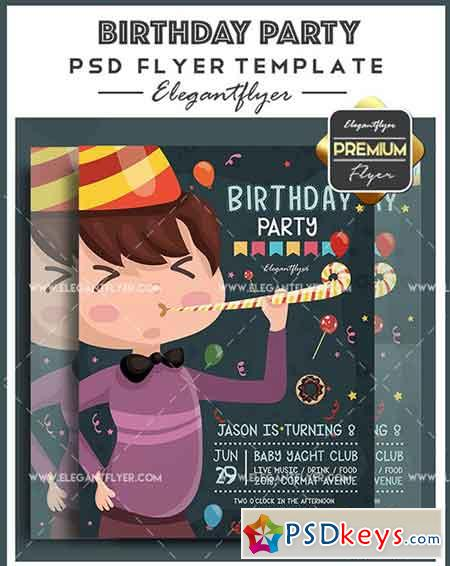 Birthday Party V011 Flyer PSD Template + Facebook Cover